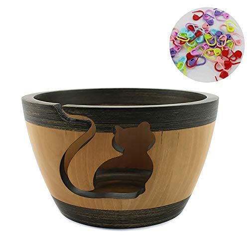 KOIOK LIFE Wooden Yarn Bowl for Knitting Crocheting – Best Handcrafted Skein Holder to Hold Ball of Yarn for Tangle Free Needle Crafts