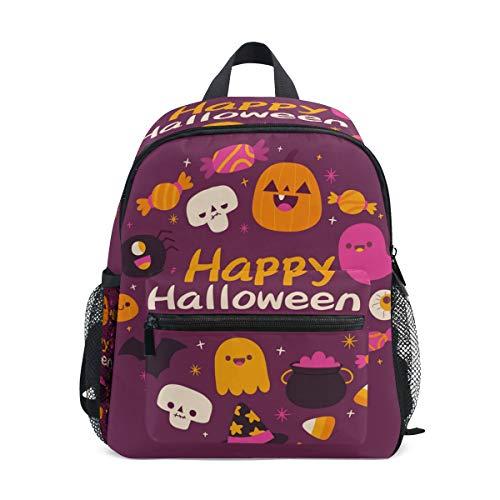 SS Backpacks Modischer Kinder-Rucksack von Hand gezeichnet, Halloween-Geister und Kürbis für Kinder, hochwertig, leger, leichter Rucksack für 3–8 Jahre, Kleinkinder, Kinder, 25,4 x 10,2 x 30,5 cm