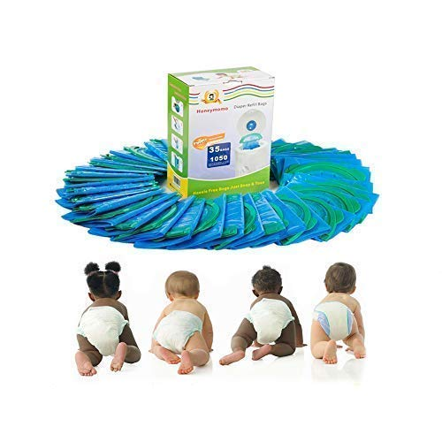 Honeymomo Baby Bathing Diaper refill bags 35 Bags 1050 Counts Snap, Seal and Toss Refill Bags Fully Compatible with Arm&Hammer Disposal Diaper Pail System