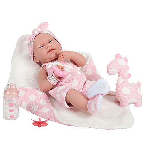"JC Toys La Newborn All-Vinyl-Anatomically Correct Real Girl 15"" Baby Doll in Pink and Deluxe Accessories, Designed by Berenguer."