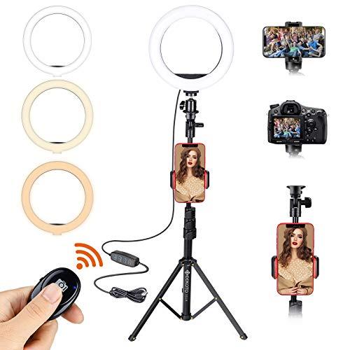 GEEKOTO Ringlicht mit Stativ Handy : 8 Zoll Selfie Ringleuchte mit Fernbedienung, Arbeiten Sie mit Handy und DSLR-Kamera für Selfie, 3 Farbe und 10 Helligkeitsstufen für YouTube TikTok Fotografie