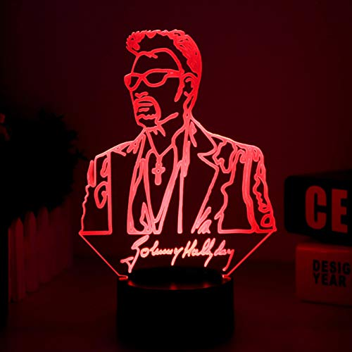 Solo 1 Johnny Hallyday Mesa Night Nightside LED USB Touch Color Changing 3D Lamp Illusion Singer Baby Lámpara decorativa Decoración