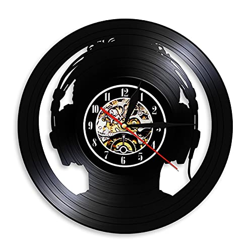 Los relojes de pared RECORDO DE VINIL DE MÚSICA RELOJ DE PARED CON MUSICAL HABITACIÓN VINCLEA DE LA VINTAGE Decoración de la decoración Hogar para los amantes de la música Hombres Mujeres Reloj Negro