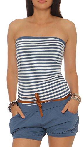 Malito Damen Einteiler gestreift | kurzer Overall mit Gürtel | Jumpsuit im Marine Look - Playsuit - Romper 9630 (Jeansblau)