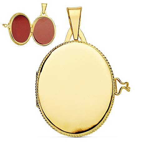 Colgante de mujer Portafotos (guardapelo) Liso Oval Oro 18 Kilates 25 MM