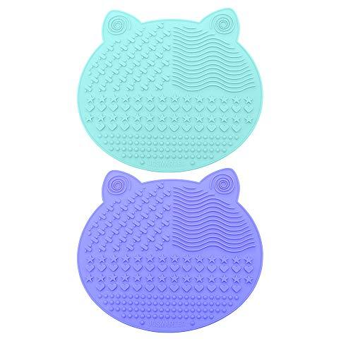 2 Stück Silikon Pinselreiniger Pinsel-Reinigung Matte, Cute Kosmetik Make up Brush Cleaner Pad with Suction Cup (Green+Purple)