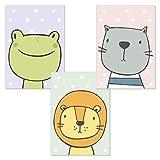 kizibi® 3er Set Comic Tiere DIN A4 Poster für Babyzimmer und Kinderzimmer, Tiere Kinderzimmerbilder, Wandbild ohne Bilderrahmen | Kinderposter Deko Jungen und Mädchen | Löwe, Frosch, Katze Wandposter