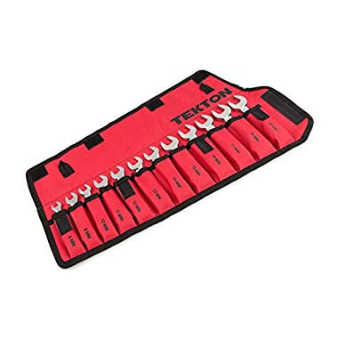 TEKTON Stubby Combination Wrench Set with Roll-up Storage Pouch, Metric, 8 mm - 19 mm, 12-Piece | WRN01190