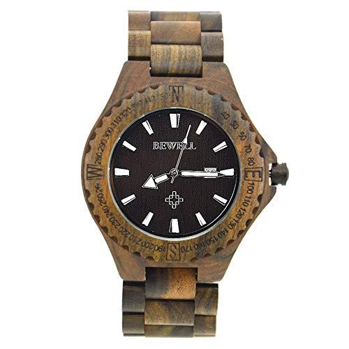GJHBFUK Reloj de Hombre Negocio Unisex Wooden Sandalwood Watch Movimientos De Cuarzo Reloj De Pulsera Ebony