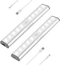 Stick-on Anywhere Portable Little Light Wireless LED Under Cabinet Lights 10-LED Motion Sensor Activated Night Light Build in Rechargeable Battery Magnetic Tap Lights for Closet, Cabinet (Silver2)