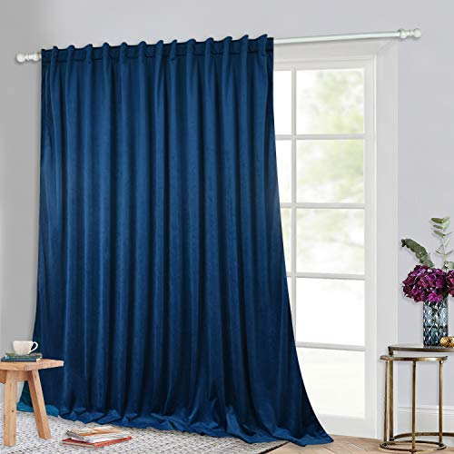 StangH Patio Door Curtains Velvet - Blue Velvet Curtains 84 inch Length, Blocking Cold Air Thermal Insulated Curtains for Sliding Door / Closet Shelves / Basement, Royal Blue, W100 x L84, 1 Panel