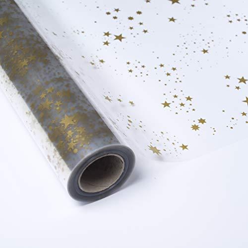 PAKOT Bobina Polipropileno Transparente - Rollo Grande 70 CM X 50M - Diseño estrella oro