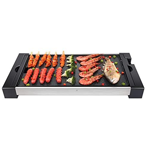 SETSCZY Barbecue Elettrico Grill Elettrico Bistecchiere Pans Barbecue Branchia di Campeggio Esterna Viaggiare Senza Fumo Antiaderente Tavolo Barbecue Stufa di Cottura,53 * 32 * 6.5cm