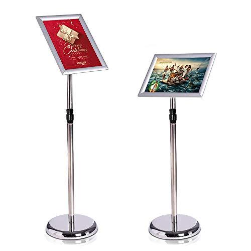 ALLESCOSY® Expositor informativo (altura regulable, acero inoxidable, A4, 210 x 297 mm), color plateado