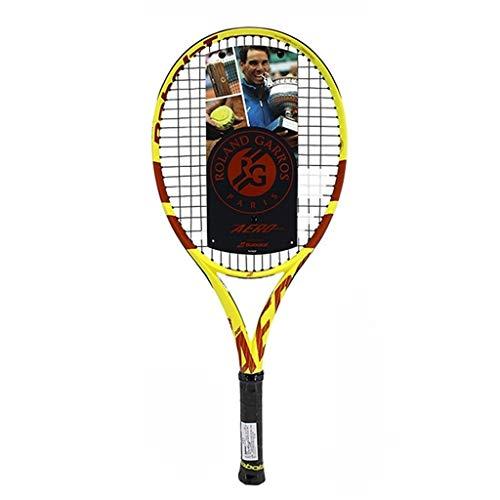 Raquetas Tenis para Niños Tenis De Carbono Individual Junior con Cuerda Profesional para Niños De 26 Pulgadas (Color : Yellow, Size : 26in)