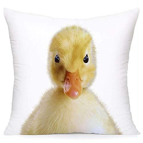 N\A Pato con diseño de Plumas Amarillas Throw Pillow Cojín Funda de cojín Animal Patito Decoraciones para el hogar y la Oficina Protectores de Almohada estándar súper Suaves (Yellow Duck)