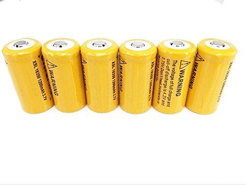 ON THE WAY 6pcs 18350 3.7V 1200mAh Rechargeable Li-ion Batteries - Orange