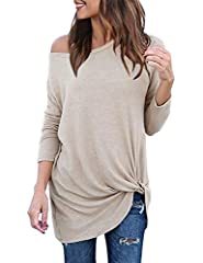 Loose fit casual blouse features: long sleeves, one shoulder tops, off shoulder blouse, solid color, crewneck front knit twisted detail, twist knot tees for women. Sexy off the shoulder long sleeve blouses, soft and stretchy fabric. Novelty fashion t...