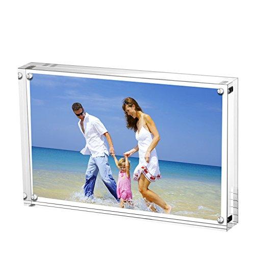 AMEITECH Magneticsche, ACRYI Foto-Bilderrahmen,Haelt 10X15 cm Fotos, 10mm+10mm Dicker Transparent und Rahmenlos -Transparent