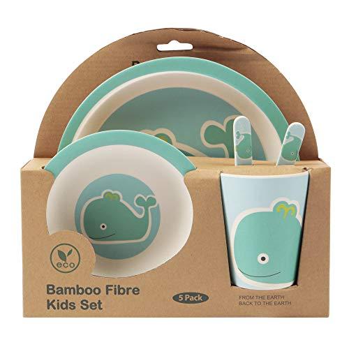Bambú de–Set de vajilla para niños, redondo–Plato de bambú, niños de cubiertos, cuenco, niño taza de bambú, respetuoso con el medio ambiente, sin BPA y lavavajillas, 5piezas)