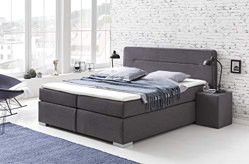 Furniture for Friends Möbelfreude Boxspringbett Loris Anthrazit 180 x 200 cm H3 Bonellfeder- und Taschenfederkern inkl. Visco-Topper