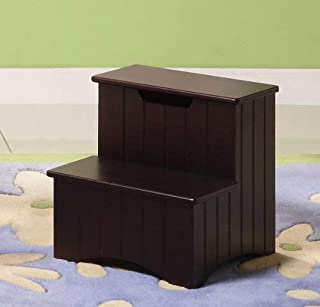 Kings Brand Dark Cherry Finish Wood Bedroom Step Stool With Storage