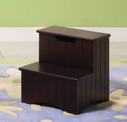 Kings Brand Cherry Bedroom Step Stool With Storage