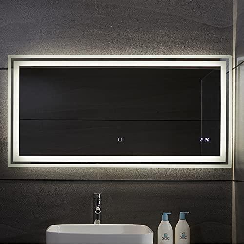 Aquamarin® LED Badspiegel - Beschlagfrei, Dimmbar, 3 Lichtfarben 3000-7000K, Kaltweiß Neutral Warmweiß, energiesparend, Digitaluhr/Datum, Modellwahl - Badezimmerspiegel, Lichtspiegel (120 x 60 cm)
