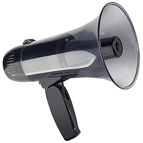 Loudmore 20 Watt Power Portable Megaphone Bullhorn Speaker-Compact and Battery Operated with Siren, 240s Voice Recorder and USB Flash Drive for Safety Drills, Soccer, Coaches and Trainers(Black)
