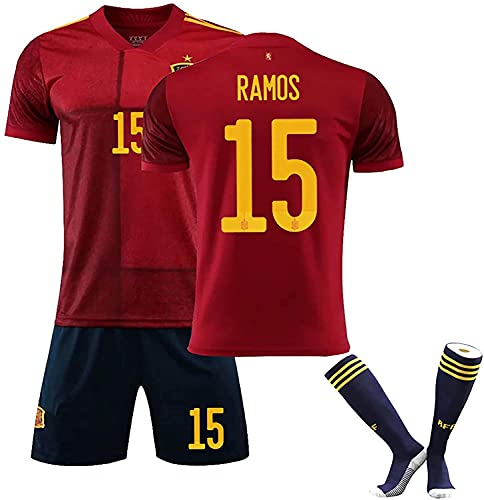SXMY Herren Spanien Fußball Trikot Uniform/Trainingshemd, Ramos Iniesta ISCO, Heimtrikot 2021, Trainingsanzug Anzug, Geschenk(Size:22,Color:Rojo 15)