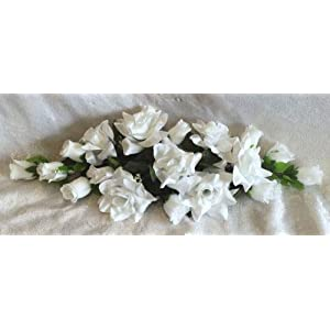 23 Inch Length White Swag Roses Arch Gazebo Decorations Silk Flowers