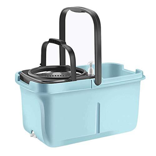 JNWEIYU 5L Litro Rotary Cubeta con 2 Cabezales mopa de Microfibra, Acero Inoxidable Cubeta y Dispensador de detergente for la...