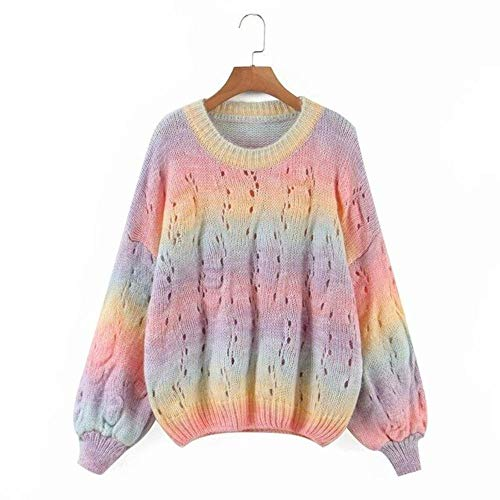 2020 New Women Knitted Top Tie Dye O-Ausschnitt Langarm Pullover Pullover Casual Fashion Design Pullover Frauenkleider, pink, One Size