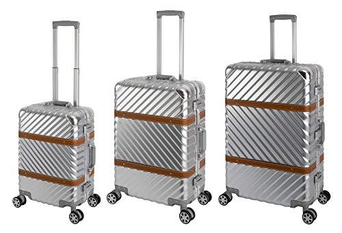 TRAVELHOUSE Paris Reisekoffer Koffer Trolley Reisegepäck Komplett Set Größe: S+M+L 2 integrierte TSA Schlösser 360° Doppelzwillingsrollen Polycarbonat Hartschale Alu- Rahmen Silber