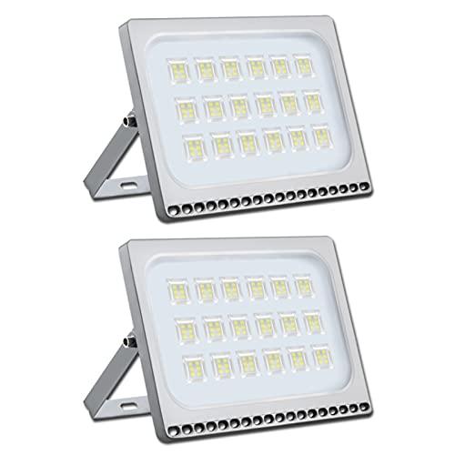 2 focos LED de 100 W, muy brillantes, 8000 lm, 6500 K, luz blanca fría, para exteriores, resistente al agua, IP65, ideal para patio trasero, entrada, puertas, garaje, pasillo, jardín