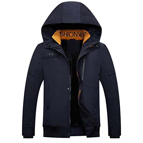 Men's Mountain Snow Waterproof Ski Jacket Hood Windproof Fleece Rain Jacket Winter Coat