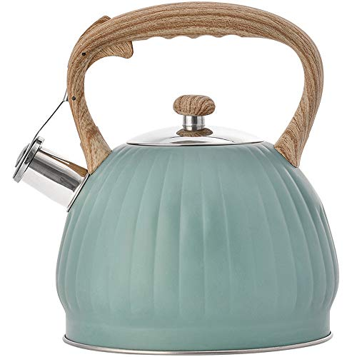 Beruyu Stove Top Whistling Kettle Pumpkin Pot, Stainless Steel Teapot with Wood Pattern Anti-Scald Handle, 3.5L (Green)