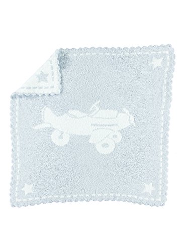 Barefoot Dreams CozyChic Scalloped Baby Receiving Blanket - Blue & White 30x 32