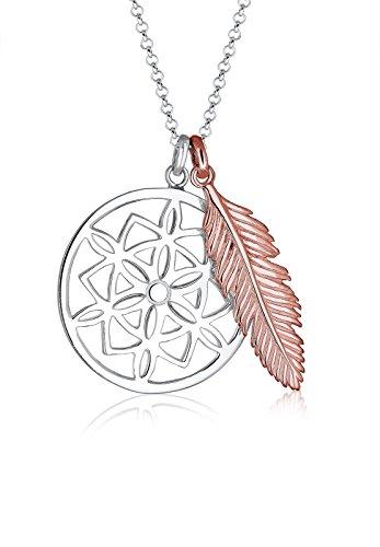 Elli Halskette Damen Traumfänger Feder Bi-Color in 925 Sterling Silber