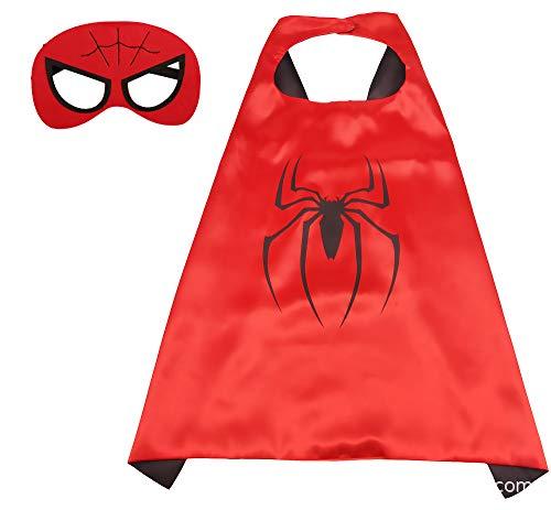 BUY-TO Superhero Cape Super Hero Disfraz de Cosplay para niños Disfraces de Fiesta de Halloween para niños Superman Spiderman Cloak con MÁSCARA