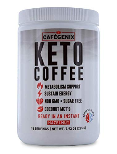 Instant Keto Coffee Hazelnut Flavor Dry Mix Made With Organic Coffee, Grass Fed Butter, Medium Chain Triglycerides, and Himalayan Salt