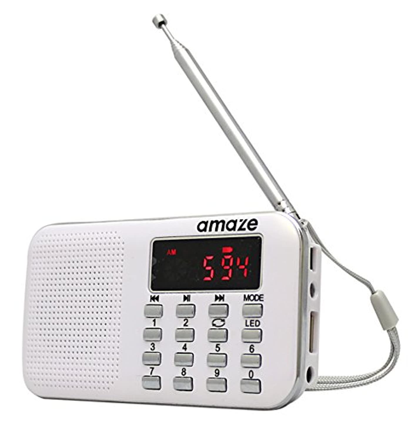 一見有料コーラス充電式多機能AM/FMポケットラジオーアメイズ- USB?microSD対応 ホワイト