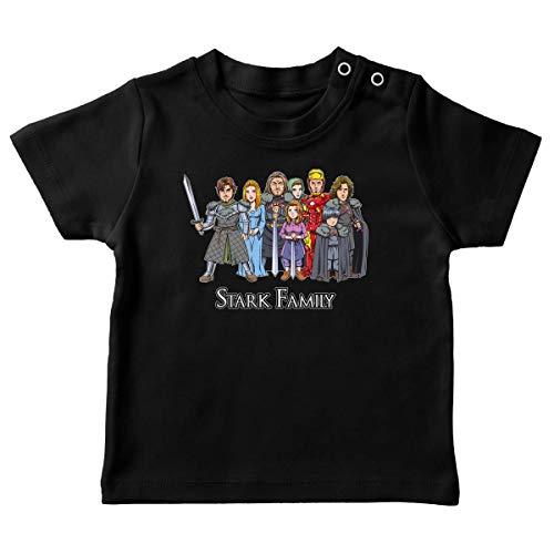 T-Shirt bébé Noir Parodie Iron Man - Game of Thrones - Eddard, Catelyn, Robb, Sansa, Arya, Brian et Rickon and Tony Stark (Caricature de Robert Downey Jr) - The Stark Family (with Robert Downey