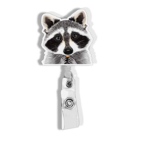 WIRESTER Retractable Badge Reel ID Holder with Alligator Clip for Office Worker, Medical Staffs, Student - Raccoon