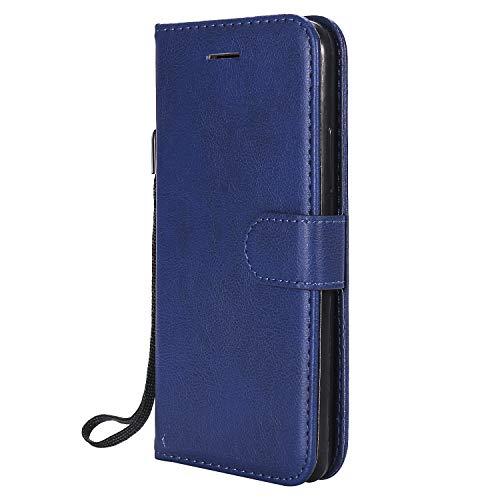 Hülle für Moto E4 Handyhülle Schutzhülle Leder PU Wallet Bumper Lederhülle Ledertasche Klapphülle Klappbar Magnetisch für Motorola Moto E4 - ZIKT051217 Blau