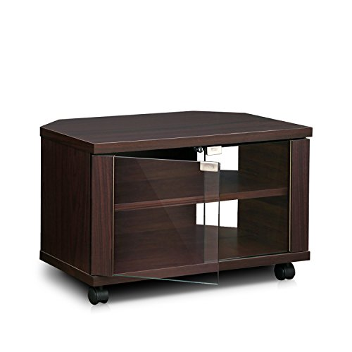 Furinno Indo Meuble TV Petite à 3 Niveaux avec Doubles Portes et roulettes en Verre, Espresso, Bois, One Size