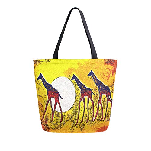 JinDoDo - Bolsa de lona abstracta de jirafa africana reutilizable para mujer, para ir de compras, viajes, playa, escuela