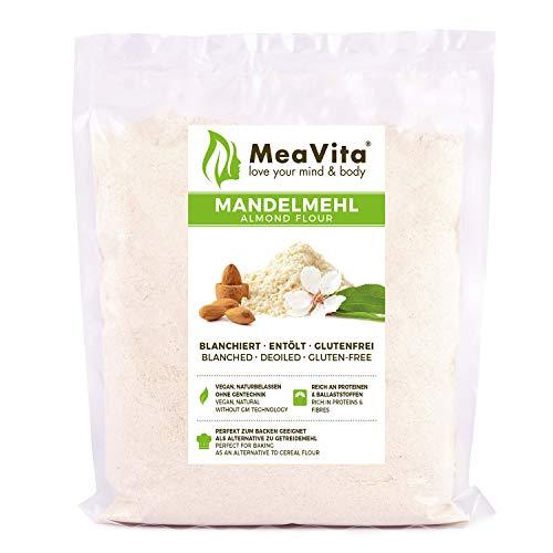 MeaVita Mąka migdałowa, odtłuszczona, blanszowana, jakość premium, 1 opakowanie (1 x 400 g) w praktycznej torebce