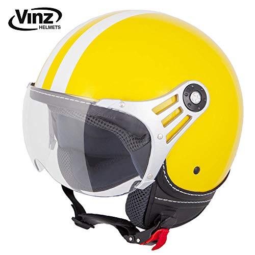 Vinz Rollerhelm Jethelm Fashionhelm | Roller Jet Helm mit Streifen | in Gr. XS-XL | Motorradhelm mit Visier | ECE zertifiziert (M, Gelb)