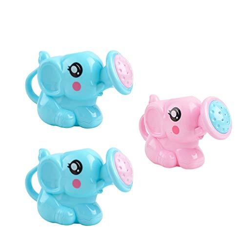 Toddmomy 3Pcs Juguetes de Baño Regadera de Plástico de Elefante Bañera de Regadera para Niños Pequeños Bebés Niños